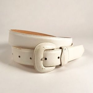 Charter Club Vintage White Leather Belt